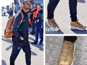 a16b1d998a6c First Look at the Gold Supreme x Nike Air More Uptempo via Neymar Jr