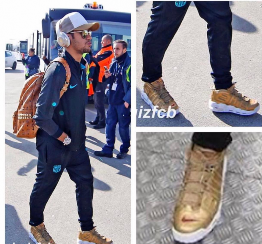 First Look at the Gold Supreme x Nike Air More Uptempo via Neymar Jr? - Collective Kicks